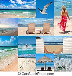 colagem, aproximadamente, férias praia
