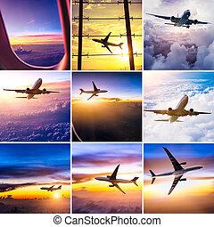 colagem, avião, tema