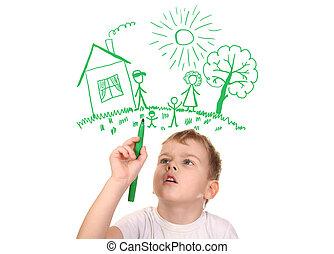colagem, caneta, desenho, felt-tip, família, menino, seu