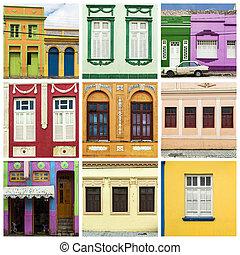 colagem, casa, coloridos