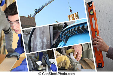 colagem, construção, closeup, detalhes, carpintaria