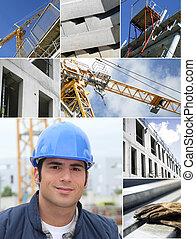 colagem, construção, trabalhos