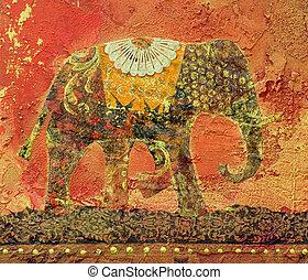 colagem, elefante