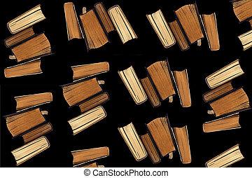 colagem, experiência., livros, antigas, pretas