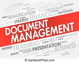 colagem, gerência, palavra, documento, nuvem