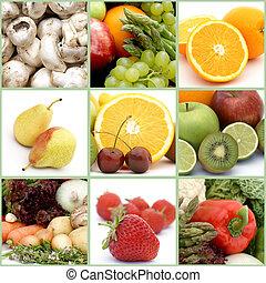 colagem, legumes, fruta
