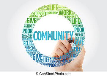 colagem, marcador, palavra, nuvem, comunidade