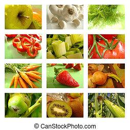 colagem, nutrição, alimento saudável