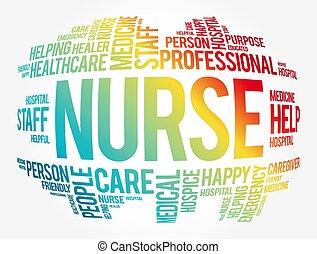 colagem, nuvem, palavra, enfermeira