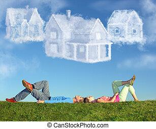 colagem, par, três, casas, mentindo, capim, sonho, nuvem