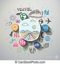 colagem, viagem, fundo, ícones