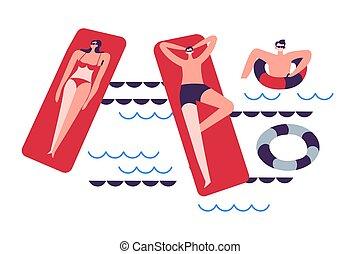colchões, ou, natação, mar, lifebuoys, piscina, família, inflável