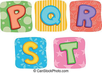 colcha, alfabeto, q, p, s, r, t, letra
