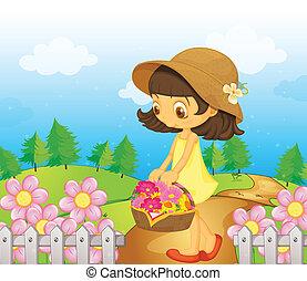 colecionar, menina, flores