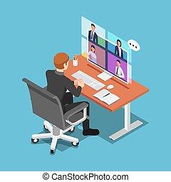 colegas, conferência, falando, seu, vídeo, isometric, homem negócios