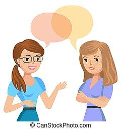 colegas, conversa., illustration., jovem, dois, vetorial, friends., reunião, ou, mulheres