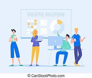 colegas, discussão, brainstorming, concept., negócio, vetorial, mulher, trabalho equipe, idea., laptop., comunicar, reunião, ilustração, caráteres, criativo, homem negócios