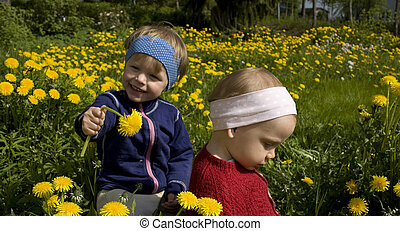 colheita, feliz, duas crianças, flowers., pequeno