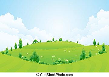 colinas, flores, fundo, capim, árvores, verde