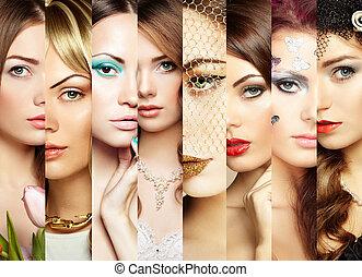 collage., caras, beleza, mulheres