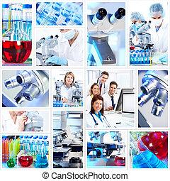 collage., científico, fundo