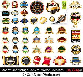 collection., emblemas, extremo, modernos, vindima