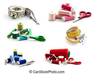 collection., isolado, branca, cosendo, ferramentas