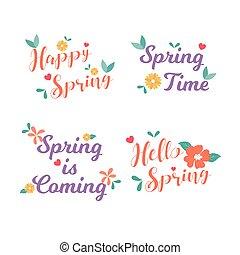 collection., olá, emblema, illustration., card., design., vetorial, saudação, primavera, mão, spring., feliz, etiqueta, apartamento, drawn.