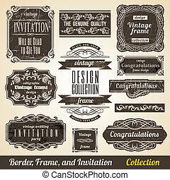 collection., quadro, calligraphic, convite, canto, elemento, borda