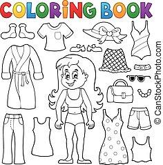 coloração, 1, tema, livro, menina, roupas