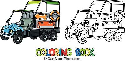 coloração, car, livro, eyes., resque, engraçado, veículo