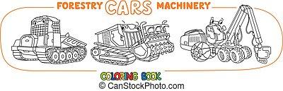 coloração, deslizamento, livro, carros, machinery., silvicultura, mulcher, trator, jogo, harvester