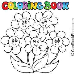 coloração, flores, cinco, livro