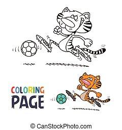 coloração, futebol, página, tiger, caricatura, tocando