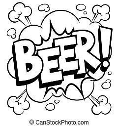 coloração, palavra, ilustração, cerveja, vetorial, livro cômico
