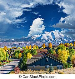 colorado, outono, vizinhança, residencial