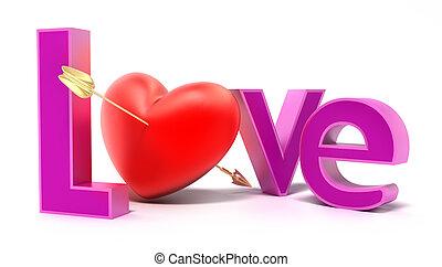 colorido, amor, palavra, letras