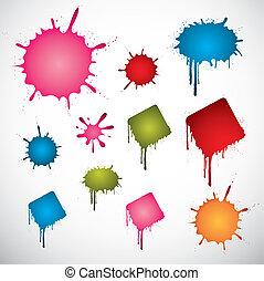 colorido, manchas, tinta