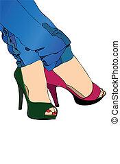 colorido, sapatos