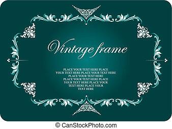 colorido, vindima, convite, vetorial, frame., casório, floral, illustration.
