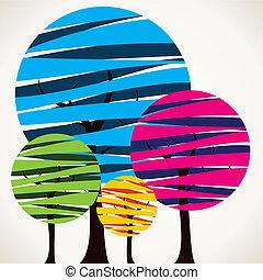 coloridos, árvore, abstratos