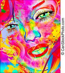 coloridos, abstratos, face., womans