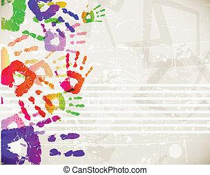 coloridos, abstratos, handprint, desenho, retro, modelo