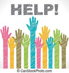 coloridos, ajuda, querer, mão