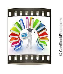 coloridos, arco íris, faixa, película, homem, laptop., chapéu, graduação, livros, semelhante, 3d