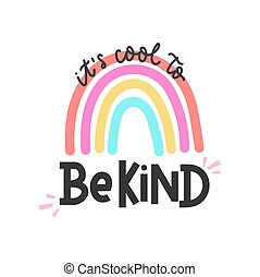 coloridos, cartão, é, fresco, inspirational, tipo, arco íris, lettering, ser