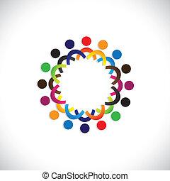 coloridos, comunidade, conceitos, tocando, amizade, empregado, pessoas, social, mostra, vetorial, &, uniões, diversidade, compartilhar, icons(symbols)., crianças, trabalhador, ilustração, graphic-, semelhante, conceito, etc