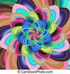 coloridos, desenho espiral, fundo, floral, fractal