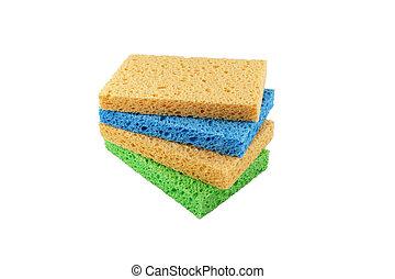 coloridos, esponjas