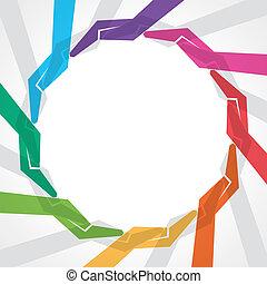coloridos, fazer, redondo, mão, forma